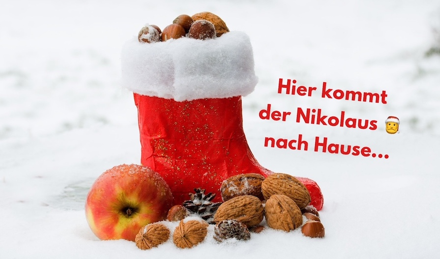 Hier kommt der Nikolaus nach Hause...